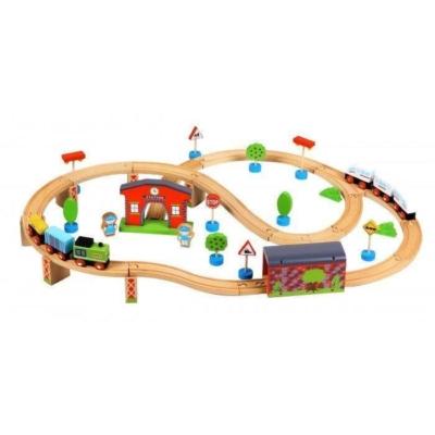 Kolejka drewniana ze stacją + dwa pociągi Lelin.jpg