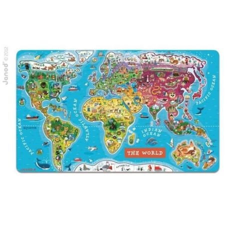 Puzzle magnetyczne Mapa świata, Janod.jpg