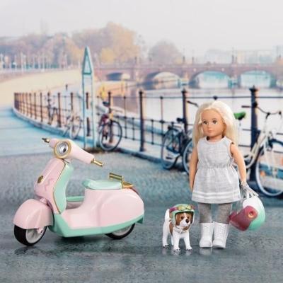 Skuter dla lalki z przyczepą boczną i pieskiem.jpg