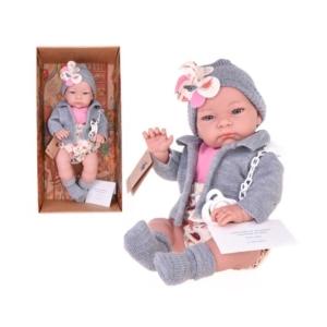 Hiszpańska lalka dziewczynka bobas Jenny w szarym .jpg