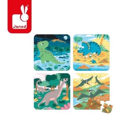 Cztery obtazki przedstawiające przedstawiające dinozaury.
