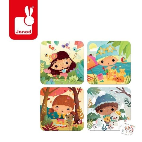 Cztery obrazki przedstawiające cztery pory roku.