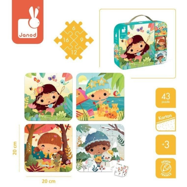 Puzzle w walizce oraz cztery obrazki przedstawiające co możemy ułożyć.