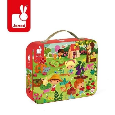 Puzzle w kartonowej walizce z obrazkiem przedstawiającym ogród