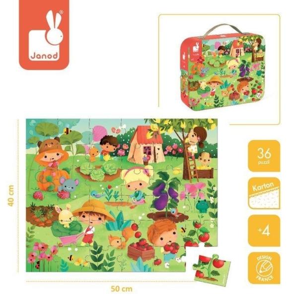 puzzle w walizce ogród razem z plakatem do układania