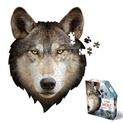 Puzzle konturowe I AM Wilk przedstawiają głowę wilka